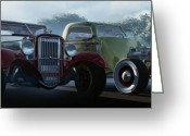Street Rods Greeting Cards - Showdown Greeting Card by Richard Rizzo