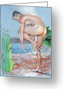 Muscular Drawings Greeting Cards - Shower Greeting Card by Chance Manart
