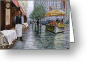 One Point Perspective Greeting Cards - Shower On Sixth  Avenue Greeting Card by Victor Zucconi