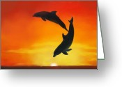 Dolphin Greeting Cards - Showing Off Greeting Card by Darlene Richardson