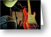 Fender Stratocaster Greeting Cards - Shows Over Greeting Card by Robert Frederick
