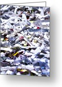 Precaution Greeting Cards - Shredded Documents Greeting Card by Kevin Curtis
