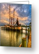 Florida Bridges Greeting Cards - Shrimp Boat at Sunset Greeting Card by Debra and Dave Vanderlaan