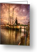 Florida Bridges Greeting Cards - Shrimp Boat at Sunset II Greeting Card by Debra and Dave Vanderlaan