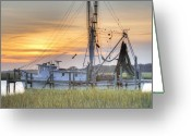 Folly Beach Lighthouse Greeting Cards - Shrimp Boat Sunset Charleston SC Greeting Card by Dustin K Ryan