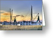 Weathered Greeting Cards - Shrimp Boats Greeting Card by Drew Castelhano