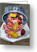 Louisiana Seafood Greeting Cards - Shrimp Boil Greeting Card by Elaine Hodges