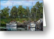 New Orleans Artist Greeting Cards - Shrimping Boats Greeting Card by Dianne Parks