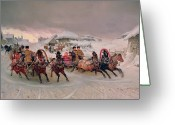 Sleigh Greeting Cards - Shrovetide Greeting Card by Petr Nicolaevich Gruzinsky