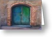 Entrance Door Drawings Greeting Cards - Shut the Door Greeting Card by Linda Kemp