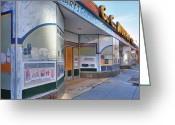 Cities Greeting Cards - Shuttered Food Store Greeting Card by Steven Ainsworth