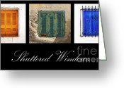 Montage Greeting Cards - Shuttered Windows Greeting Card by Meirion Matthias