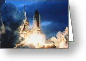 Space Ships Greeting Cards - Shuttle Lift-Off Greeting Card by Photo Researchers