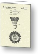 Sports Art Drawings Greeting Cards - Shuttlecock 1976 Patent Art Greeting Card by Prior Art Design