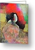 Nudity Mixed Media Greeting Cards - Shy Desire Greeting Card by Johane Amirault
