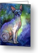 Custom Sphynx Portrait Greeting Cards - Shynx Cat 2 painting Greeting Card by Svetlana Novikova