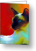Custom Pet Portraits From Photos Drawings Greeting Cards - Siamese Cat 10 Painting Greeting Card by Svetlana Novikova