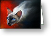 Bright Pastels Greeting Cards - Siamese Cat 7 Painting Greeting Card by Svetlana Novikova
