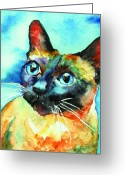 Cat Painting Greeting Cards - Siamese Cat Greeting Card by Christy  Freeman