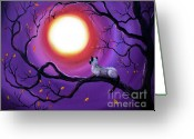 Laura Milnor Iverson Greeting Cards - Siamese Cat in Purple Moonlight Greeting Card by Laura Iverson