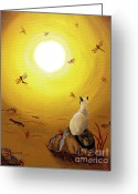 Laura Milnor Iverson Greeting Cards - Siamese Cat with Red Dragonflies Greeting Card by Laura Iverson