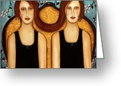 Twins Greeting Cards - Siamese Twins Greeting Card by Leah Saulnier The Painting Maniac