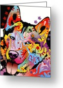 Graffiti Greeting Cards - Siberian Husky 2 Greeting Card by Dean Russo