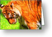 Siberian Tiger Greeting Cards - Siberian Tiger 2 . Photoart Greeting Card by Wingsdomain Art and Photography