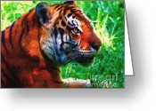 Siberian Tiger Greeting Cards - Siberian Tiger . Photoart Greeting Card by Wingsdomain Art and Photography