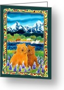 Batik Greeting Cards - Sibling Bears of Katmai Greeting Card by Harriet Peck Taylor