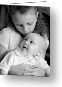 Infant Photo Greeting Cards - Sibling Love Greeting Card by Lisa  Phillips