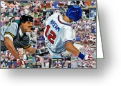 National League Painting Greeting Cards - Sid Bream Slide Greeting Card by Michael Lee