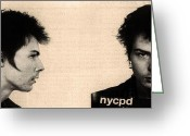 Mug Shot Greeting Cards - Sid Vicious Mugshot Greeting Card by Bill Cannon