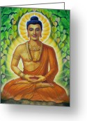 Buddha Art Greeting Cards - Siddhartha Greeting Card by Sue Halstenberg