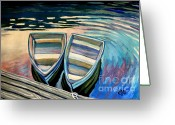 Row Boat Mixed Media Greeting Cards - Side By Side Greeting Card by Elizabeth Robinette Tyndall