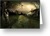 Scary Surreal Fantasy Art Greeting Cards - Side Road Motel Greeting Card by Svetlana Sewell