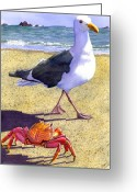 Ocean Beach Greeting Cards - Side Stepping Greeting Card by Catherine G McElroy