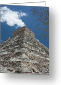 Ancient Civilization Greeting Cards - Side View Of Chichen Itza Pyramid Greeting Card by L. Bressand
