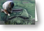 The Hulk Greeting Cards - Sidewalk Art 4 Greeting Card by Bob Christopher