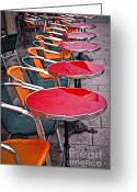 Wicker Chairs Greeting Cards - Sidewalk cafe in Paris Greeting Card by Elena Elisseeva
