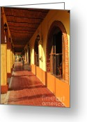 Brick Greeting Cards - Sidewalk in Tlaquepaque district of Guadalajara Greeting Card by Elena Elisseeva