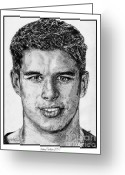 Championship Drawings Greeting Cards - Sidney Crosby in 2007 Greeting Card by J McCombie