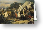 American Revolutionary War Greeting Cards - Siege of Yorktown Greeting Card by Louis Charles Auguste  Couder