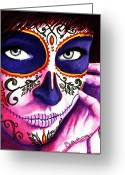 Day Of The Dead Greeting Cards - Siempre en mi Mente  Greeting Card by Al  Molina