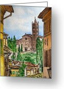 Old Town Painting Greeting Cards - Siena Italy Greeting Card by Irina Sztukowski