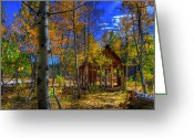 Aspen Trees Greeting Cards - Sierra Nevada Fall Colors Barn Greeting Card by Scott McGuire