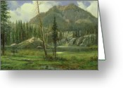 Puddle Painting Greeting Cards - Sierra Nevada Mountains Greeting Card by Albert Bierstadt
