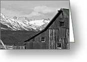 Black And White Barn Greeting Cards - Sierra Nevada Rustic Barn Greeting Card by Scott McGuire
