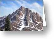 Snow Capped Painting Greeting Cards - Sierra Peaks Greeting Card by Frank Wilson