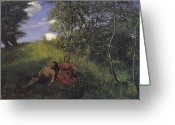 Slumber Greeting Cards - Siesta Greeting Card by Hans Thoma